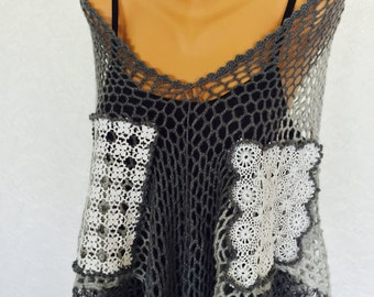 Crochet Poncho- Handmade Grey and white hand made lace Crochet Poncho