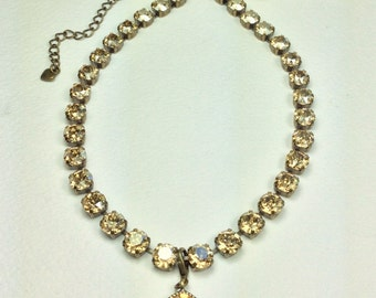 Swarovski Crystal 8.5mm Necklace  - Sunny Golden Shadow Crystals & 12MM Add- On Drop - Designer Inspired - FREE SHIPPING