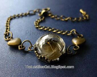 Dandelion Jewelry Dandelion wish bracelet Real dandelion seeds Make a wish Real plant jewelry Terrarium Dandelion Bracelet Wedding Jewelry