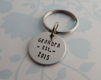 "Hand Stamped ""GRANDPA est. with child's birth year"" Key Chain - Hand Stamped custom Key Chain for Dad - Grandfather Gift - Father's Day Gift"