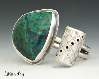 Silver Ring, Chrysocolla Ring, Sterling Silver, Chrysocolla, Metalsmith Jewelry, Handmade, Size 9