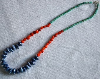 Bold Blue and White Ceramic, Coral, and Turquoise Magnesite Beaded Neckalce
