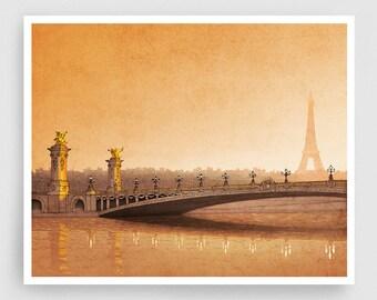 Paris illustration - From sun to sun - Art Illustration Print art print Eiffel tower Home decor Architectural drawing Paris Cityscape Orange