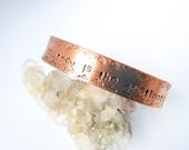 The Journey Is The Destination // Inspirational Copper Bangle, Bohemian Bracelets