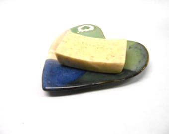 CLEARANCE:  Pottery Heart Soap Dish, Pottery Spoon Rest, Ceramic Soap Dish, Pottery Soap Dish, Trinket Dish in Blue, Green and White