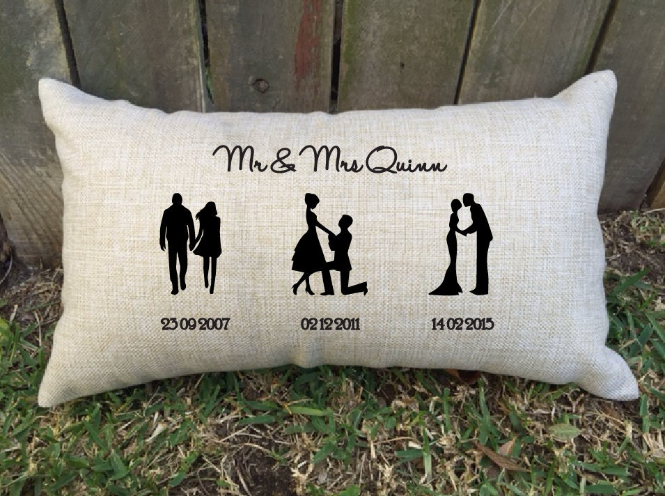 Good Wedding Gifts For Friends: SILHOUETTE TIMELINE Couples Pillow Perfect For Bridal Shower