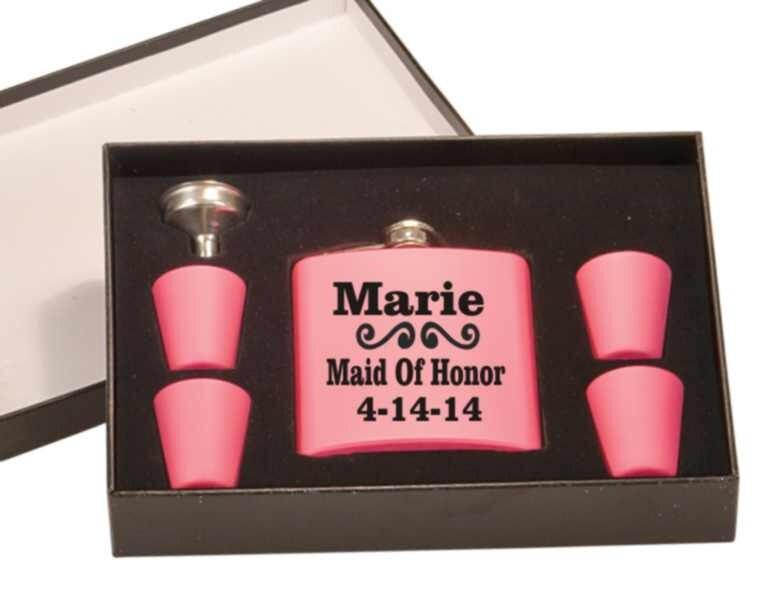 Bridal Gift, Wedding Flask Set, Bridesmade Gift, Maid Of