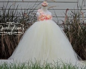Flower Girl Dress, Flower Girl Tutu Dress, Pink and Ivory Flower Girl Dress, Hydrangea Flower Girl, Spring Wedding, Summer Wedding
