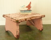 Vintage PINK Shabby Step Stool, Wooden Homemade Farmhouse Plant Stand, Trailer Step - Garden, Travel Trailer and Home Decor
