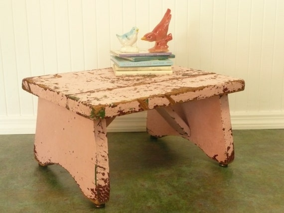 Vintage Pink Shabby Step Stool Wooden By Newlifevintagervs