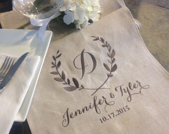 Pure Linen Table Runner - Personalized & Embroidered - 12 inches by 60 inches - Wedding Party Event Custom