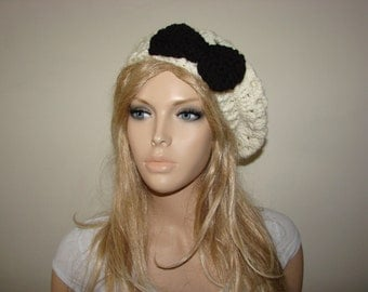cream crochet beret, ivory slouchy Hat with bow Oversized Hat gift Knit School Girl Beret,Woman Fashion Accessory