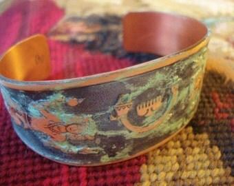 Vintage Copper Cuff Bracelet Kachina Thunderbird Native Eagle Dancer Southwestern Awesome Verdigris Patina Boho Chic