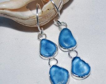 Sea Glass Earrings Cornflower Sea Glass Sterling Silver Earrings