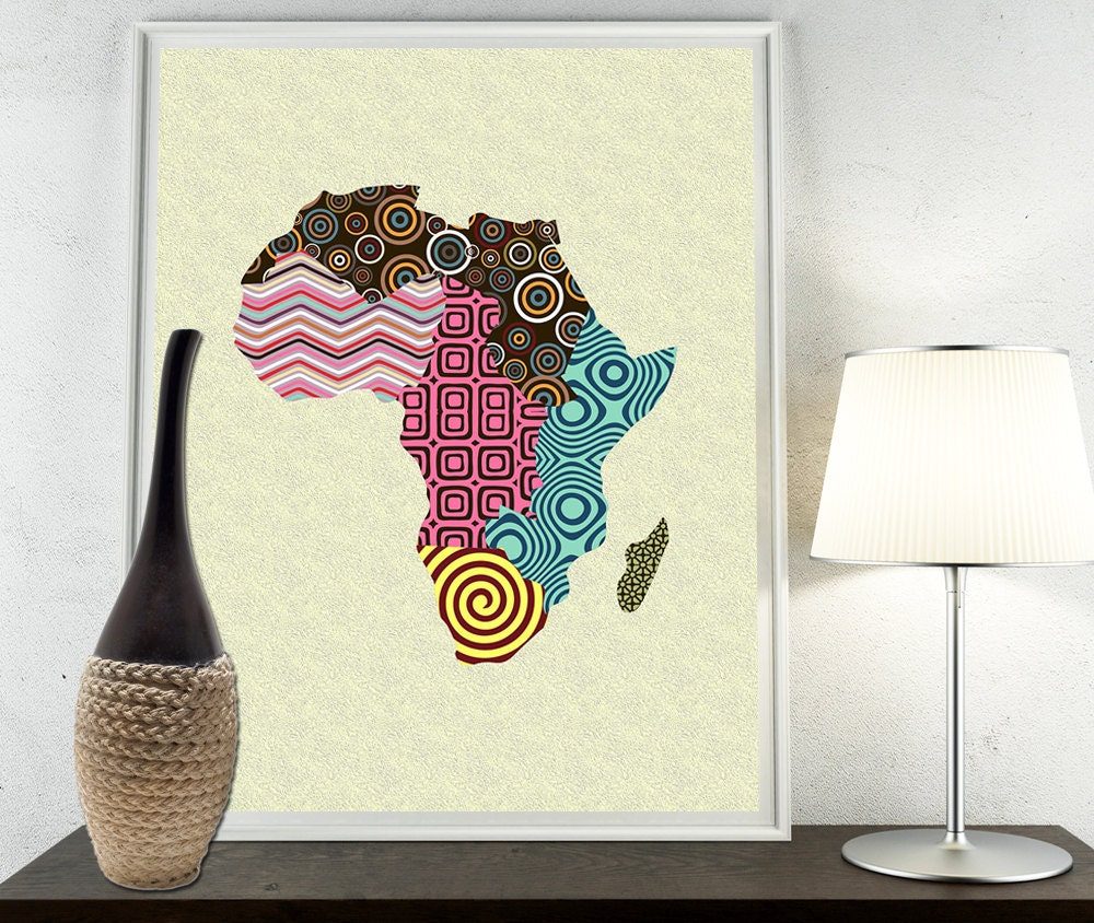 african print map decor african wall art african map art african shop print afrocentric pop art. Black Bedroom Furniture Sets. Home Design Ideas