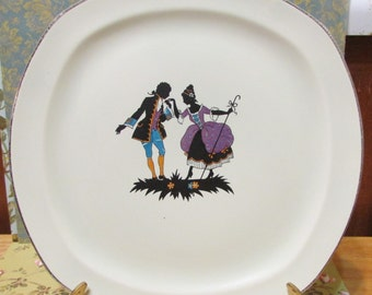 vintage black and white colonial figures square cake plate