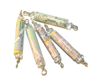 Paper Beads - 5 - Hand-Made Road Map Beads - with Clear glass beads