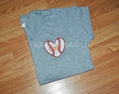 Mom baseball/softball heart left chest T-shirt (made to order)