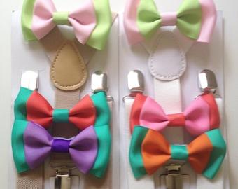 Ombre Bow tie suspenders Baby bowtie Aqua Boys Bow ties Green Toddler Necktie Teal Mens bowties Rustic Wedding Ring Bearer Outfit Groomsmen