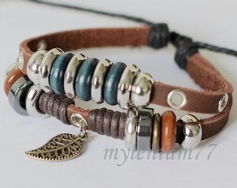 047 Men bracelet Women bracelet Leaf bracelet Charm bracelet Rings bracelet Ropes bracelet Leather bracelet Fashion bracelet