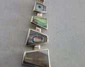 Silver Abalone Shell Pendant - Multi color pendant