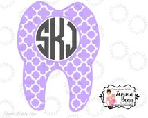 Monogram tooth decal great for cars, laptops, windows, mirrors and more!