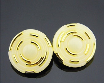 6 pcs 0.98 inch White Gold Resin Plastic Shank Buttons for Coats
