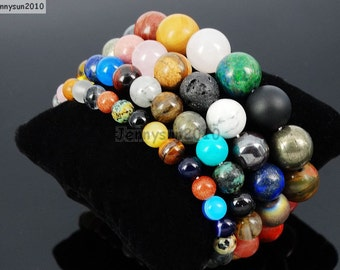 Natural Handmade Randomly Mixed Gemstone Size 6mm 8mm 10mm 12mm Round Beads Stretchy Bracelet Healing Jewelry Design and Crafts