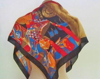 silk scarf KABUKI vintage 1980s, bright silk scarf, dramatic scarf, vintage scarves, sqaure silk scarf