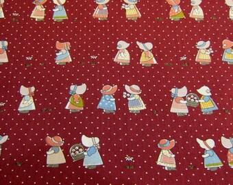 Maroon Sunbonnet  Japanese Cotton Fabric