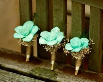 Sola Lily Bud Boutonniere Groom Groomsmen Wedding Natural Beach Wedding Babys breath Woodland Magnet on back
