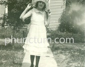 Flapper Girl & Ghostly Apparition Vintage Photo Great 1920s Hat