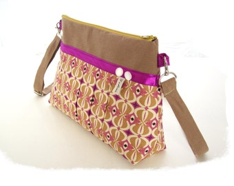handbag crossbody beige and purple shoulder bag pleated vintage style fabric