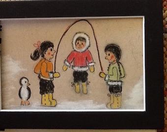 Eskimo original pastel picture four by five