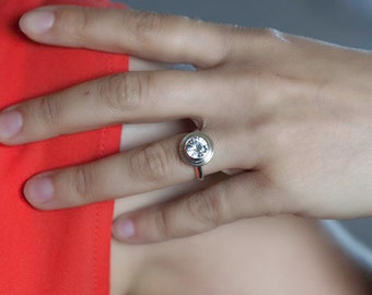 Engagement ring, stacking ring, affordable manmade white sapphire and silver handmade ring, size 5 3/8, #578.