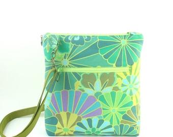 Green flowered hip bag,  green crossbody bag,  small green hip bag,  flower zipper bag,  green zipper bag, Kaffee Fassett bag, crossbody bag