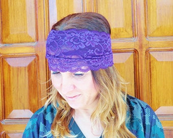 PURPLE LACE HEADBAND, wide lace stretch headband