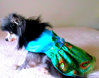 Small Dog Party Dress, Formal Dog Clothes, Custom Small Sizes, with Net over Sapphire Satin Skirt, Satin Bodice, Peacock Feather Ribbon