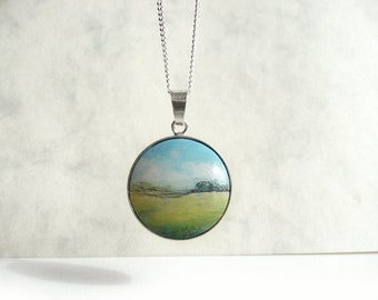 Tiny Necklace, Silver Setting, Sterling Silver Chain Necklace, Hand Painted Jewelry, Painted Landscape, Field Painting Necklace by Artdora