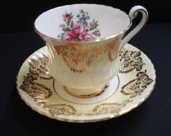 Classy PARAGON CUP and SAUCER Set - Made in England - Fine Bone China - Floral - Gold Accents