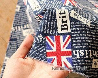 Upholstery Fabric Cloth - Navy Blue Canvas Cotton Fabric With British Style Words Union jack- 1/2 Yard