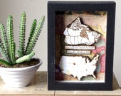 Long Distance Relationship - State/Country Map Gift - Rustic Shadow Box Art - Personalized Frame
