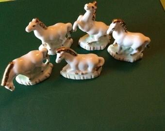 Set of 5 Mini Ceramic Horses