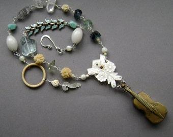The Melody, assemblage necklace, vintage matchsafe, violin vesta case, carved mop, phantom quartz, amazonite, carved bone, AnvilArtifacts