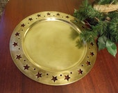 Brass Serving Tray With Punched Stars