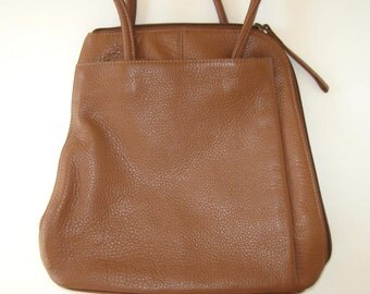 SALE, 90's Clarkes British Tan Leather Backpack, leather Purse, Bags and Purses, brown leather Rucksack, gift idea