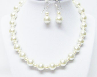 """17"""" Ivory Glass Pearl Necklace/Bracelet & Earrings Set (No Stone, Silver Plated)"""