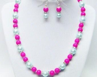 Pink Opaque & Aqua Glass w/Rondelle Rhinestone Bead Necklace/Bracelet/ Earrings Set