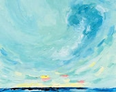 """Original impressionist Cloud, Skyscape and landscape acrylic painting """"Morning Awakening"""",  20"""" x 24"""" on canvas."""