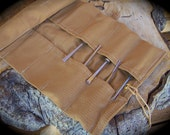 Large Tan Canvas Tool Roll for Crafters, Woodworkers, Leatherworkers, Roll for Chisels, Travel Organizer